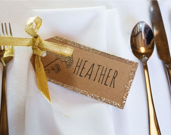 Rustic Wedding Place Card, Rustic Wedding Name Cards. Kraft Card with Gold Glitter and Gold Ribbon or twine. Rustic Wedding. Eco Wedding.