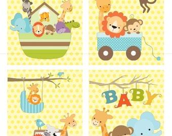 Jungle Baby Animal Nursery Wall Art - Set of 4 Prints - Jungle, Safari, Zoo, Giraffe, Lion, Monkey, Elephant