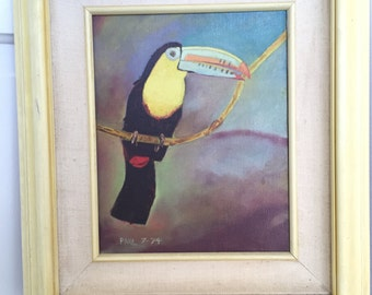Vintage Colorful Toucan Bird Painting c 1974