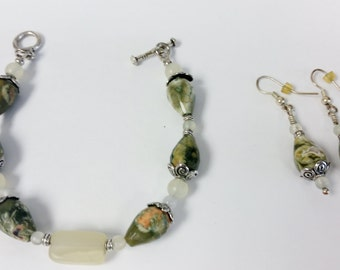 Rain Forest Jasper, New Jade  Bracelet/earring set