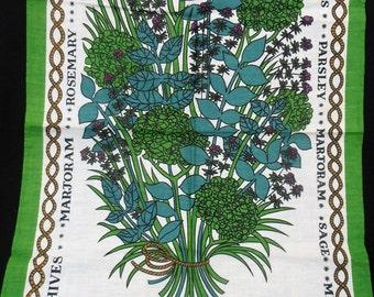Vintage Linen Tea Towel. Herbs. 1970s