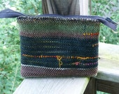 Handwoven Green, Bronze and Orange Clutch