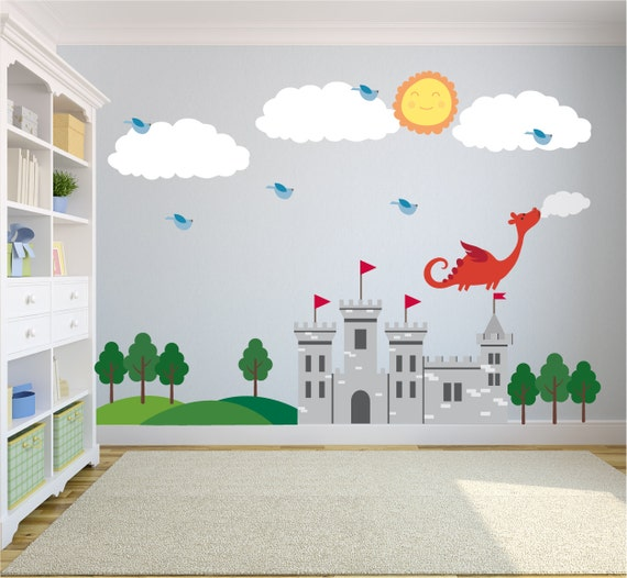 Castle wall decals wall decals nursery baby wall decal kids for Castle wall mural sticker