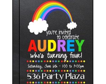 Rainbow Themed Birthday Party Invitation - Colorful