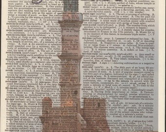Chania Venetian harbour historic lighthouse, West Crete, Greece, Vintage Upcycled Book Page Dictionary Art Print Mixed Media