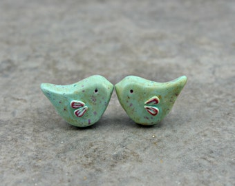 Little Love Bird Bead, polymer clay bird bead