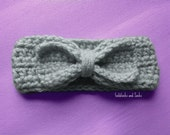 Crochet grey ear warmer, girl ear warmer, gray bow headband, baby girl headband, winter ear warmer, crochet baby, winter headband