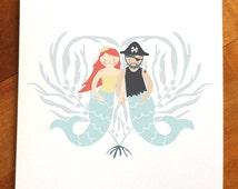 Mermaid Merman in love under the sea greeting card, merpirate, pirate card, mermaid illustration, kelp heart