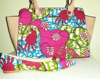 Fabric bag African fushia pink wax
