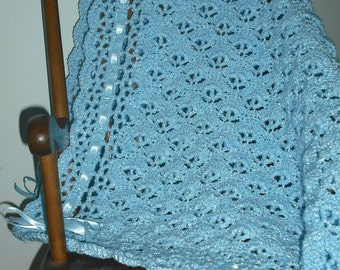 Baby Blue Lace and Ribbon Blanket