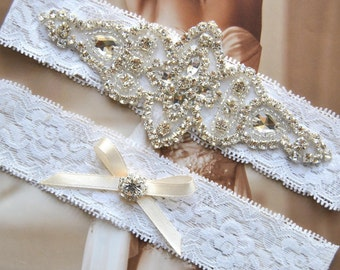 Bridal Garter Set, Crystal Garter Set, Wedding Garter Set Ivory,Vintage Wedding, Lace Garter, Ivory Rhinestone Garter and Toss Garter Set