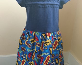 Superhero Dress - comic book T-shirt Party Dress - size 4t