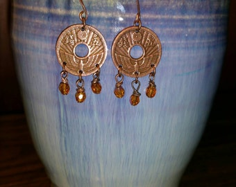 Copper coin earrings w/topaz crystal dangles