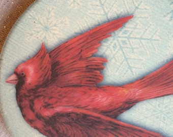 Valentine Day Cardinal Coasters, Bird Coasters, Red Bird, Gift for Bird Lovers, Romantic Gift,