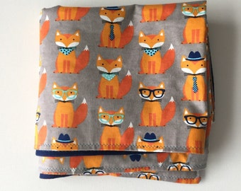 Fox Baby Blanket Woodland Animals Flannel Blanket Receiving Blanket Baby Boy Gift Woodland Animals Forrest Animal Fox nursery fox baby