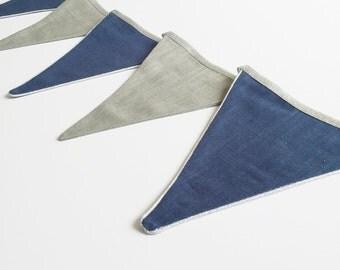 """Garland pennants """"Elie"""" -  petrol blue / grey / silver"""