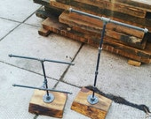 Rustic industrial pipe and wood jewelry display | rustic jewelry storage rack | two tier jewelry display