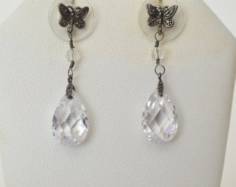 Vintage Faceted Clear Crystal Silver Tone Marcasite Butterfly Dangle Teardrop Earrings  Free shipping in the U.S.