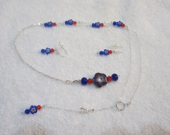 Handmade One of a Kind Sterling Silver Necklace & Earring Set