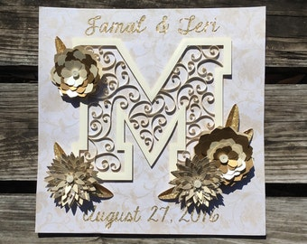 Custom Quilled Wedding/Anniversary - Paper Quilled Art 12x12 Style #3