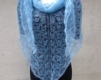 Fine lace  shawl, light blue  triangle shawl, hand knitted, lightweight mohair shawl, wedding  shawl, gift for woman