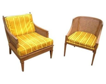 Vintage Mid-Century Lewittes Cane Yellow Gold Velour Velvet Chair Set