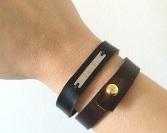 Leather Ohio Cuff // Genuine Leather Bracelet  // OHIO Stamped Bracelet // Ohio Leather Bracelet // Geo Supply Co. Bracelet