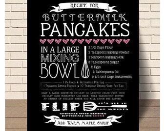 Buttermilk Pancake Art Recipe, Chalk, Chalkboard, Pancakes, Kitchen, Kitchen Art, Decor, Print, Instant Download, Printable Art, Typography
