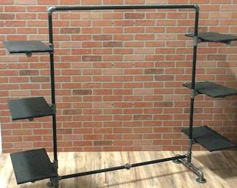 Clothing Rack - Industrial Pipe Clothing Rack with Wood Shelving - Black Pipe Garment Rack
