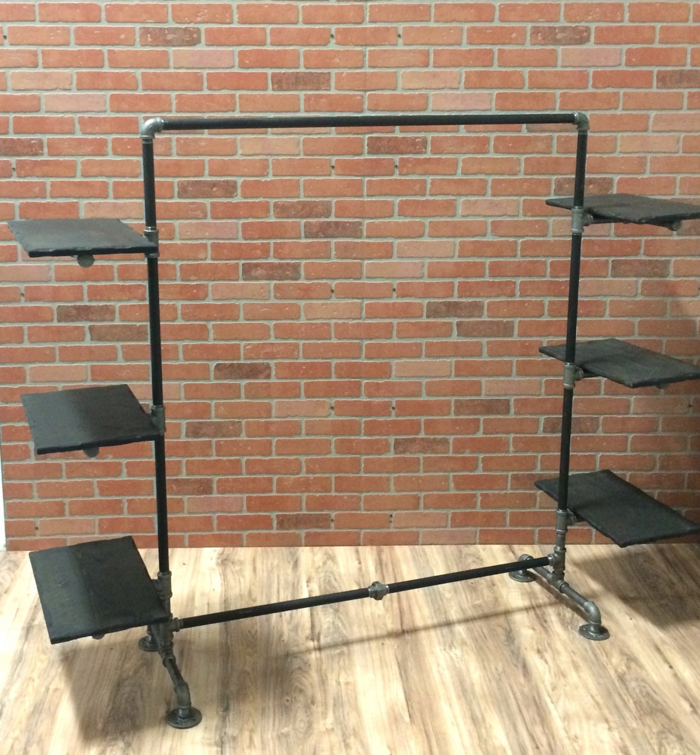 clothing rack industrial pipe clothing rack with wood. Black Bedroom Furniture Sets. Home Design Ideas