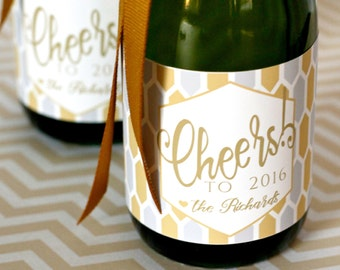 Cheers to 2016! Mini Champagne Bottle Labels   - New Years Eve Party Favors