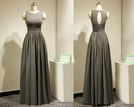 Lady Angel Free Shipping Short Beige Chiffon Bridesmaid: Long Dark Grey Bridesmaid Dress For Wedding By MelissaLife89
