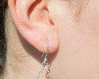 Sapphire Earrings, Delicate Earrings, Gold Earrings, Sterling Earrings, Rose Earrings, Copper, Dangle Earrings, Gemstone, Blue Earring