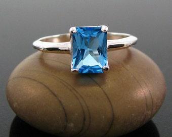 Blue topaz ring, topaz ring, swiss blue topaz ring - swiss blue ring - blue topaz - ring size 4 5 6 7 8 9 10 11