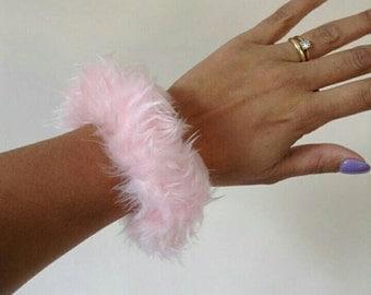 Small Baby Pink Fun Fur Fluffy Scrunchie