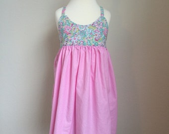 The Olivia Dress - Pink Floral and Sparkle - Size 3/4 - Ready to Ship