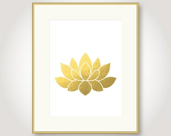 lotus flower water lily gold printable floral girl room nursery wall art flower wall decor jpeg yoga poster digital print instant download