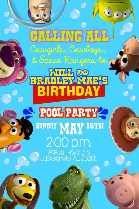 toy story pool party invitation woody jessie buzz lightyear, Party invitations