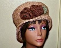 On Sale- Womens Cloche Hat Downton Abby Flapper Crochet Gatsby Bucket Light Brown Buff  1920s Style