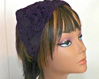 On Sale- Cotton Purple Hippie Hair Bandana Kerchief Triangle Head Scarf Rockabilly Hair Band Gypsy Boho