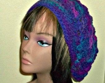 On Sale- Slouchy Crochet Hat Mulitcolor Blue Purple Womens Tam Beret Boho Chunky Beanie