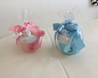Receiving Blanket Cupcakes with Spoon/Baby Girl Baby Shower Gift/Baby Boy Baby Shower Gift/New Baby Gift