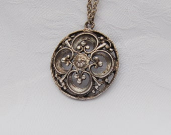 Stunning Antique Filigree Pendant with chain.