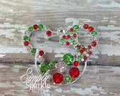 SALE Minnie Christmas Rhinestone Chunky Bead Pendant Bling Bubblegum necklace pendant