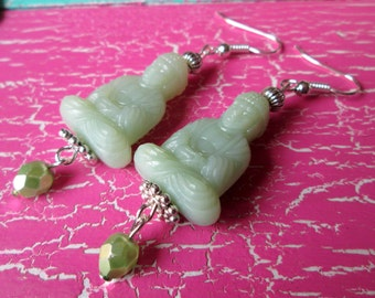 Buddha earrings with Crystal beads * hippie * boho * style *.