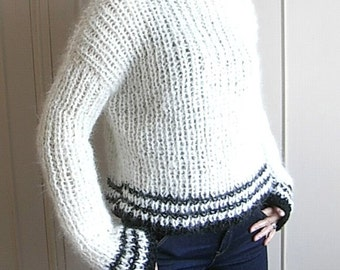 NEW design! - Hand Knit Mohair Sweater  -  Fall - Winter - Spring