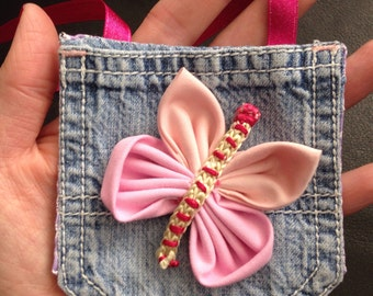 Little girls bag, Pink butterfly bag, Hanging girls purse, Neck purse, Jeans pocket bag, Denim coin purse, Kids birthday gifts, UK handmade