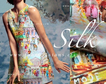 Grey silk European City Printed Silk Fabric
