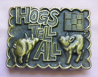 Vintage • Purina Hogs Tell All Belt Buckle | Animal Feed Food | Made in USA
