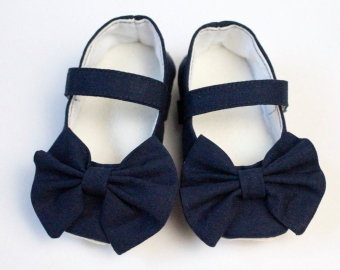 Navy Blue Mary Jane soft sole baby girl shoes, with over sized bow